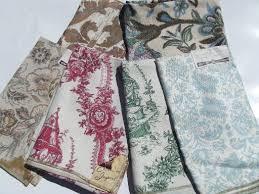 Cotton Linen Upholstery Fabric Lot Vintage Hand Prints Linen Cotton Decorator Upholstery Fabric