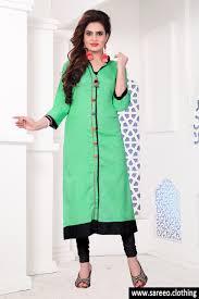 pista color khadi silk long kurti