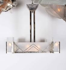 Art Deco Lighting Fixtures Chandeliers French Art Deco Square Chandelier Frosted Glass And Nickel L