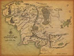 map hobbit a3 vintage style poster middle earth map lord of the rings