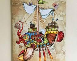 Pirate Decor For Home Blackbeard Pirate Art Canvas Print Original Illustrated 11 X