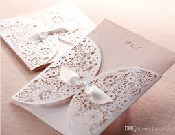Customized Wedding Invitations Creative Hollow Lace Cut Out Wedding Invitation With Bowknot Free