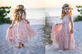 cheap pink flower girls u0027 dresses for wedding 2016 lace applique