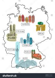 stuttgart on map germany doodle map famous places berlin stock vector 76788868
