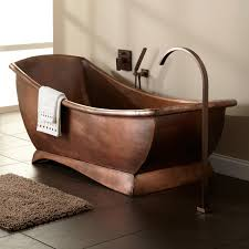Curved Bath Mat Freestanding Copper Bath Tub With Curved Shower Faucet In Antique
