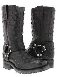 black biker boots mens black crocodile alligator back leather biker motorcycle boots