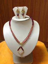 red crystal bead necklace images Buy red and gold crystal beads necklace with unique designer ear jpg