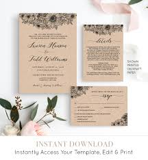 wedding invitation set rustic floral wedding invite details