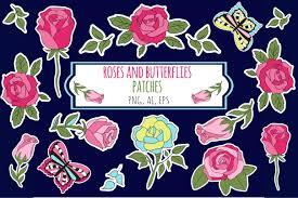 Roses And Butterflies - roses and butterflies stickers by krist design bundles