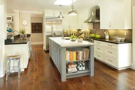 grey kitchen island gray center island with cookbook shelves transitional kitchen