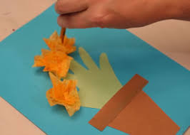 tissue paper flowers printable instructions handprint flower and paper flowerpot craft