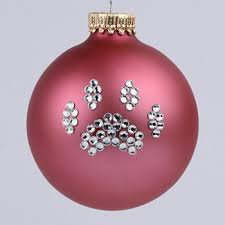 pink paw print ornament and cat paw print