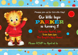 A Birthday Invitation Card Daniel Tiger Birthday Invitations Kawaiitheo Com