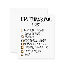 thanksgiving check list thankful for checklist greeting card u2013 fresh out of ink