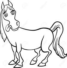 farm animal coloring book black and white cartoon illustration of funny horse farm animal