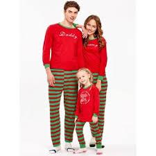 striped printed matching family pajama set kid t