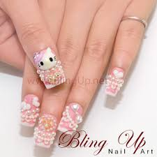 bling up inc hello kitty nail art in pink with rhinestone and