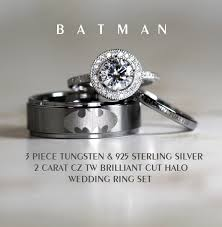 batman wedding ring tungsten and 925 sterling silver 2 carat cz wedding ring 3piece