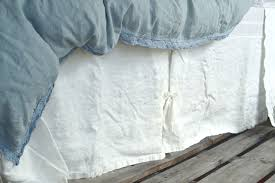 ivory heavy weight rustic linen bed skirt dust ruffle valance