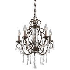 5 light bronze chandelier shop portfolio roz 16 in 5 light dark bronze vintage crystal candle