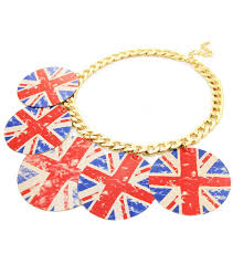 Flag Circle Printed England Flag Circle Dangle Gold Necklace U2013 A Touch Of Fun
