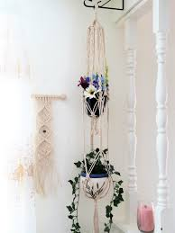 Large White Planter by White Macrame Plant Hanger Large Double 2 Tier Modern Hippie