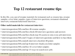 Restaurant Resume Sample by Top 12 Restaurant Resume Tips 1 638 Jpg Cb U003d1427965677