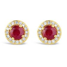 gold stud earrings uk yellow gold ruby diamond stud earrings