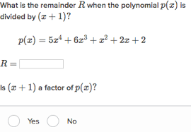 use the polynomial remainder theorem practice khan academy