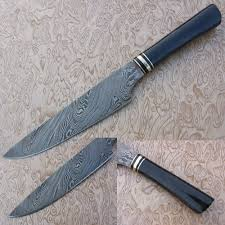 Damascus Steel Kitchen Knives Handmade Damascus Steel Chef Knife Buffalo Horn Black Handle