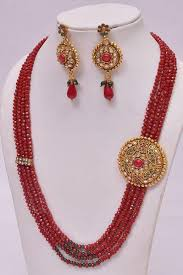 ruby beads necklace images Multi layered ruby beads necklace set khushrang colorful indian jpg
