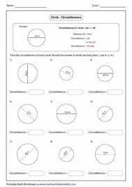 grade 6 u2013 circumference of circles worksheet area of a circle