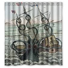 Custom Bathroom Shower Curtains Custom Shower Curtain Sea Kraken Octopus