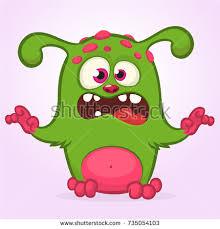 surprised cute cartoon monster icon vector stock vector 687762175