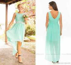 2016 simple modest mint green bridesmaid dresses high low v back
