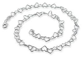 bracelet chain heart silver images Silver 16 quot heart chain necklace 6mm gif