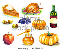 thanksgiving day set with roasted turkey grape pumpkin acorns