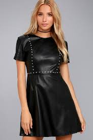 leather dress black vegan leather dress studded skater dress lbd
