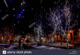 night street in downtown aspen colorado decorated with christmas