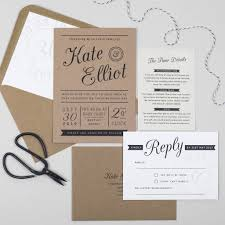 kraft stamp wedding invitation by pear paper co