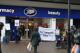 boots shop haringey solidarity protesters marched on topman and boots