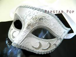 venetian masquerade mask silver white with silver trim masquerade mask with applied