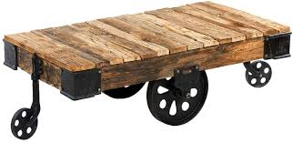 Coffee Table With Wheels Pottery Barn - custom reproduction industrial factory cart coffee table by tables