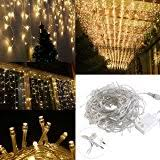 70 warm white led icicle lights white wire home
