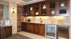 Kitchen Bar Cabinet Ideas by Furniture Stone Wall Combined With Wood Wall And Wet Bar Cabinets