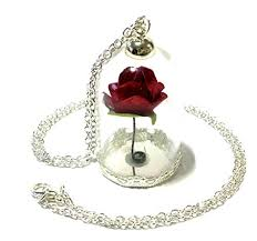 rose glass necklace images Beauty and the beast rose under glass pendant necklace jpg