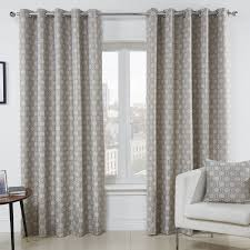 geometric luxury lined eyelet curtains pair