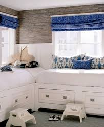 Simple Room Layout Simple Shared Kids Room With Blue Curtain And White Bed Dweef