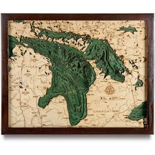 World Map Framed Lake Huron Wood Map 3d Nautical Topographic Chart Framed Art
