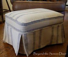 Slipcover Ottoman Simple Ottoman Slipcover With Corner Pleats Using Canvas Dropcloth